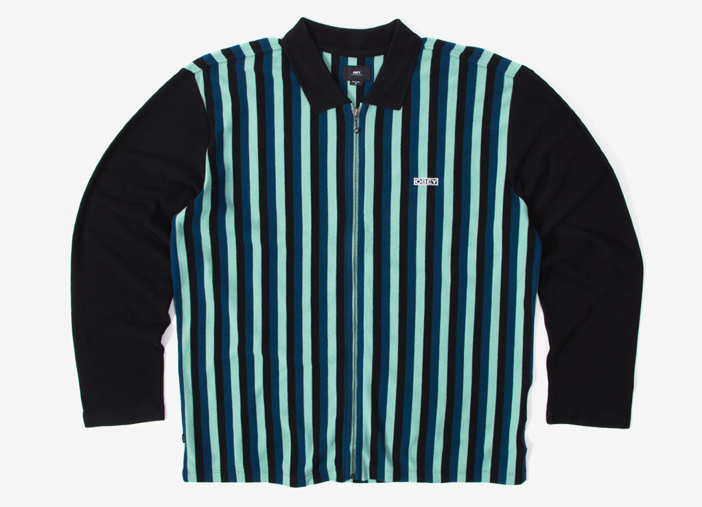 Obey Bold Classic Long Sleeve Polo Shirt - Pine Multi