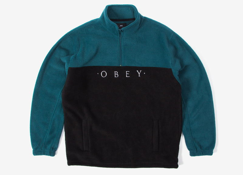 Obey Channel Mock Neck Fleece - Black/Multi