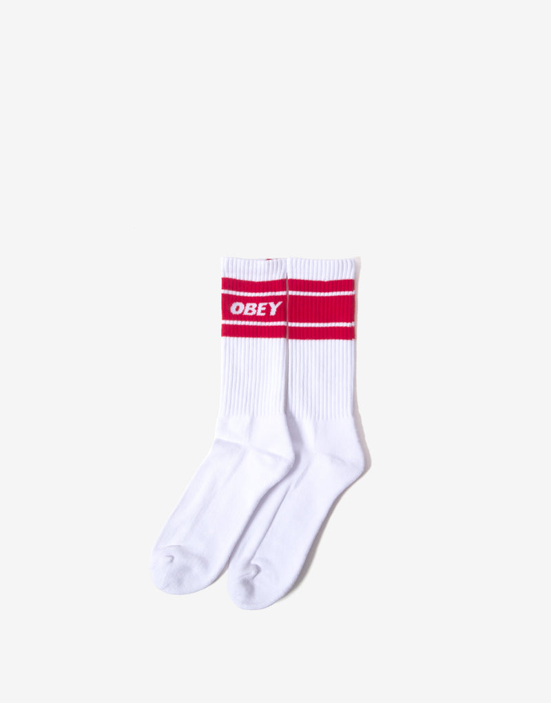 Obey Cooper II Socks - White/Rio Red