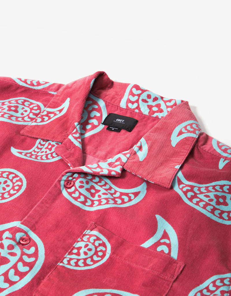 Obey Domain Woven Shirt - Cassis/Multi