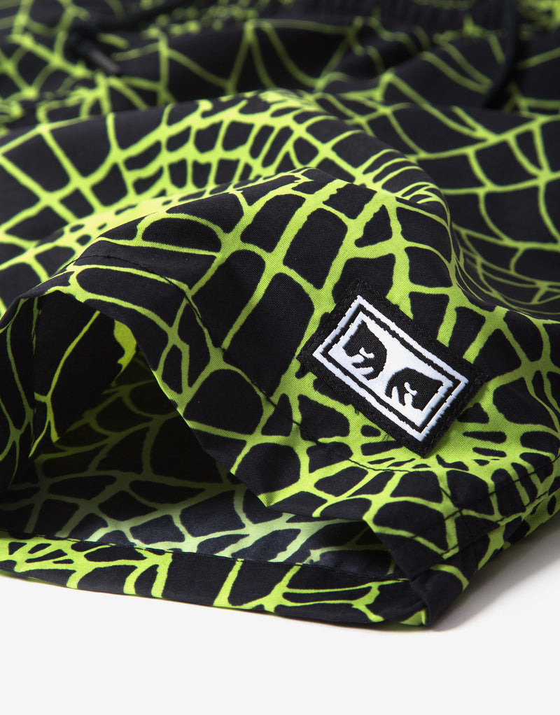 Obey Easy Relaxed Web Short - Lime/Multi