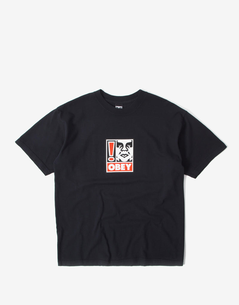 Obey Exclamation Point Heavyweight Classic Box T Shirt - Off Black