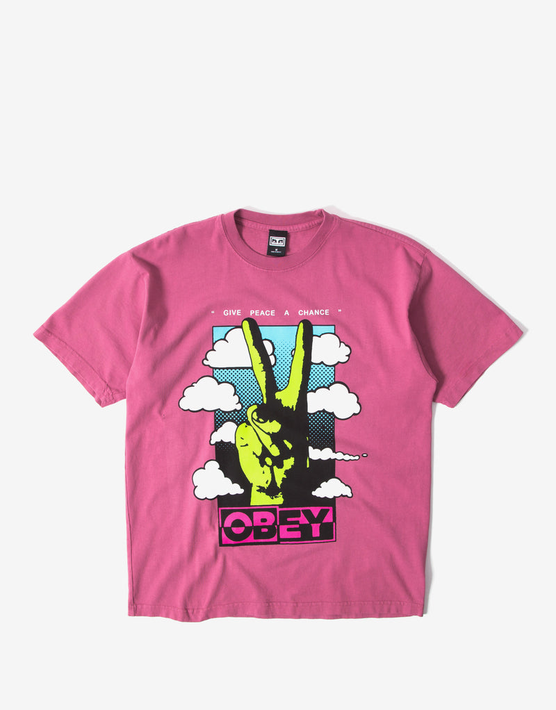 Obey Give Peace A Chance T Shirt - Cassis