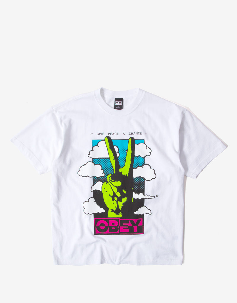 Obey Give Peace A Chance T Shirt - White