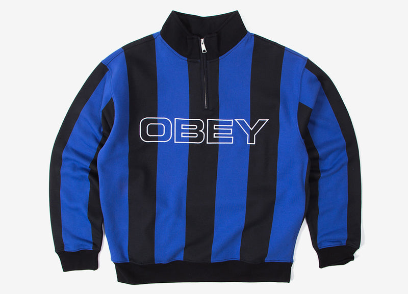 Obey Goal Zip Mock Neck - Blue/Multi