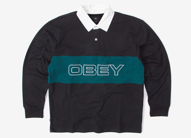 Obey Ignite Classic Long Sleeve Polo Shirt - Black/Multi