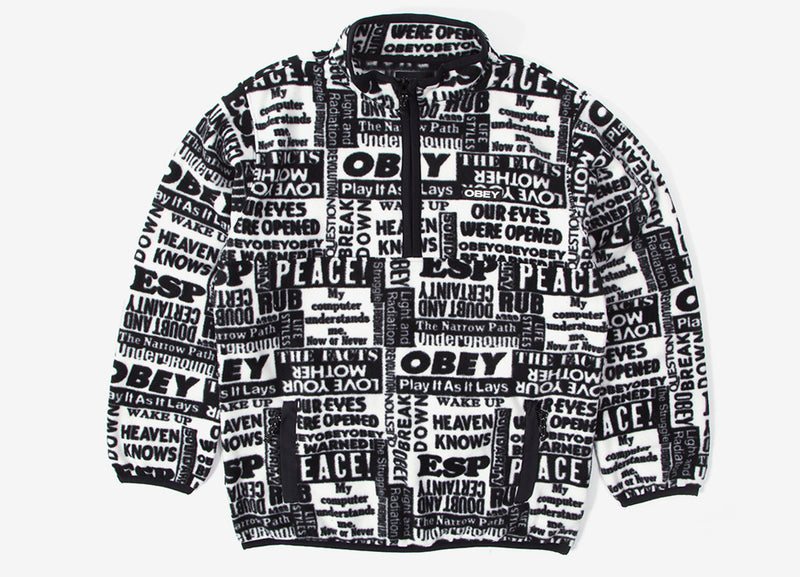 Obey Post Mock Neck Fleece - White/Multi