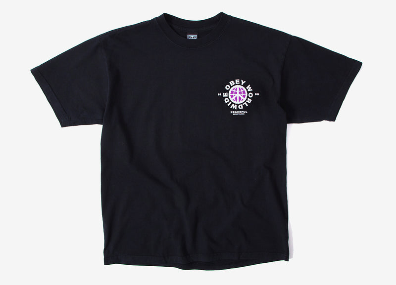 Obey Peaceful Resistance T Shirt - Off Black