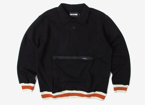 Pas de Mer Wrong Place Polo Sweatshirt - Black