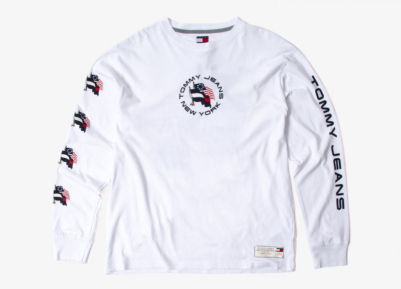 Tommy Jeans Flag Long Sleeve T Shirt - White