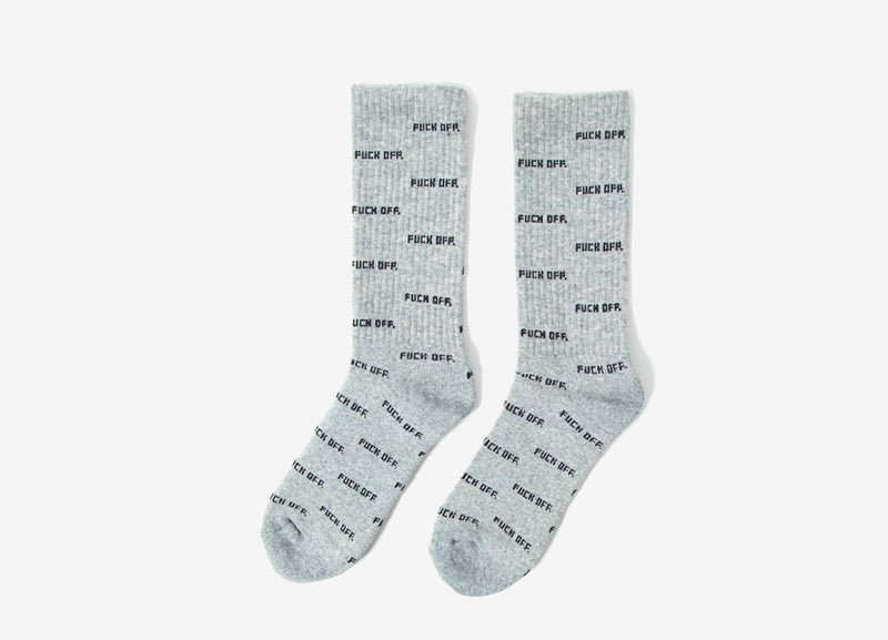 Raised By Wolves Fuck Off AOP Crew Socks - Heather