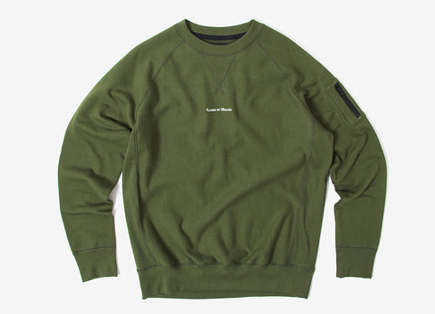 Raised By Wolves Micrologo Raglan Crewneck Sweatshirt - Olive Drab