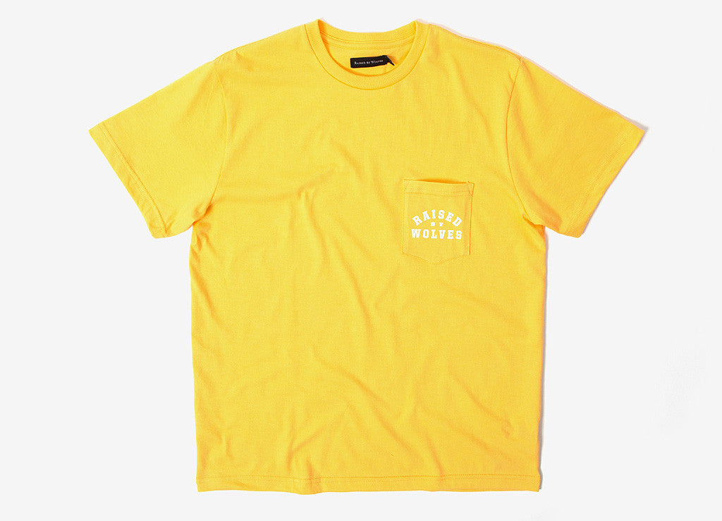 Raised By Wolves Mirror Pocket T Shirt - Old Gold