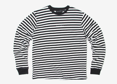 Raised By Wolves Krueger Long Sleeve T Shirt - White/Black Stripe