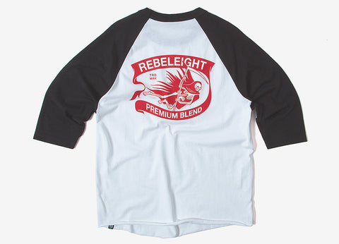 Rebel8 Premium Blend Raglan T Shirt - Black/White