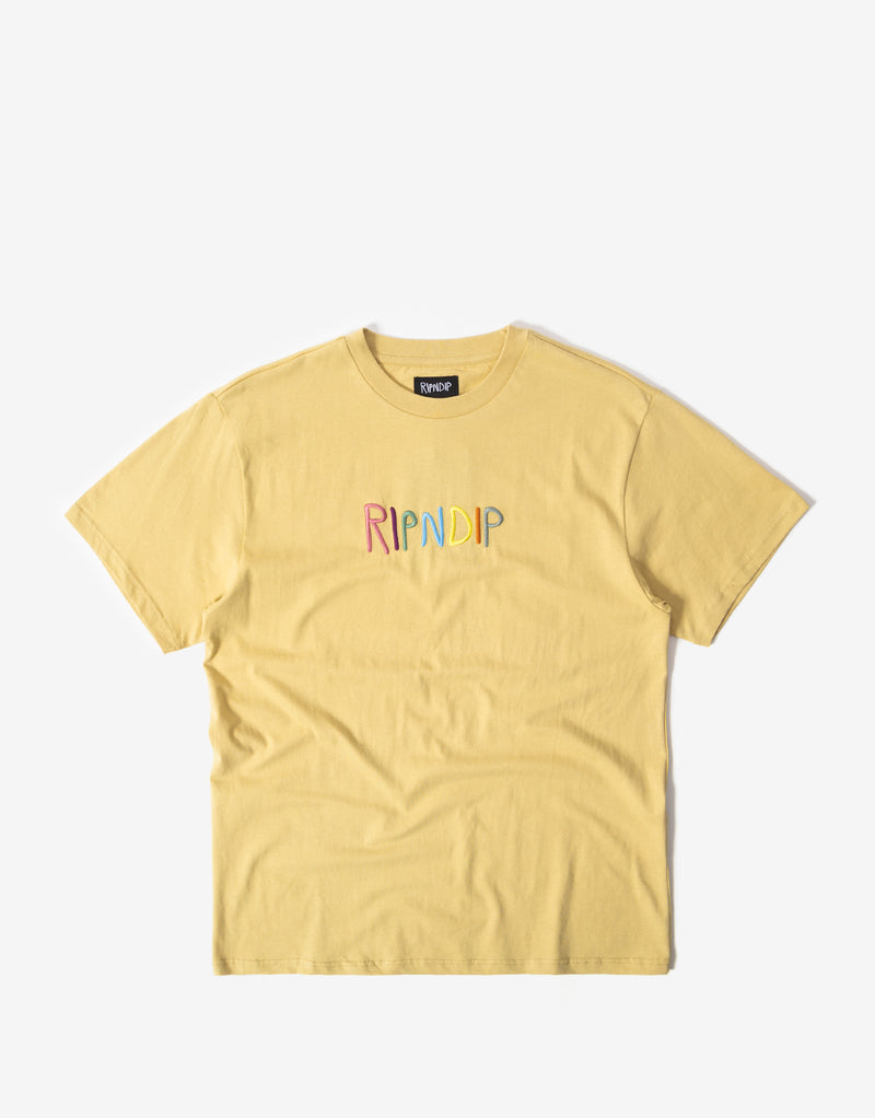 Rip N Dip Embroidered Logo T Shirt - Tan