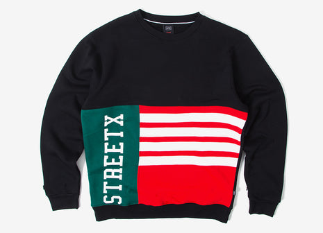 StreetX Flag Crewneck Sweatshirt - Black/Red