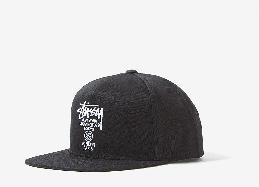 Stussy World Tour SU16 Snapback Cap - Black