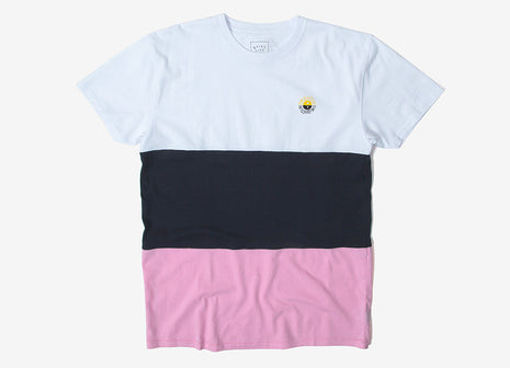 The Quiet Life Solar Color Blocked T Shirt - White/Navy/Pink