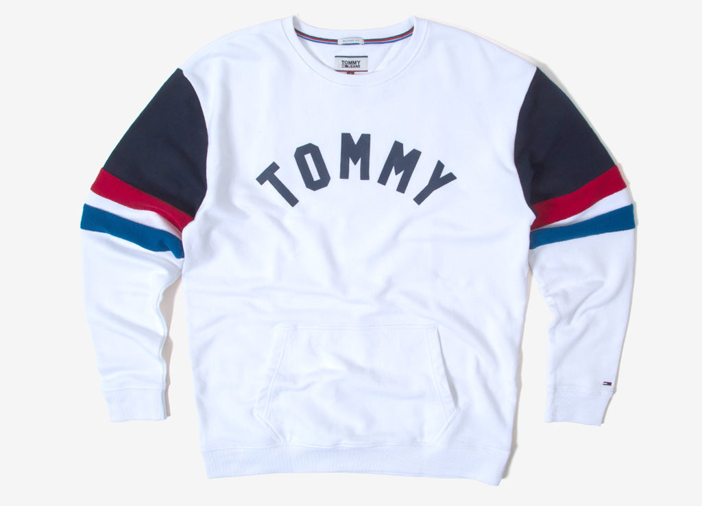 Tommy Jeans Colourblock Crewneck Sweatshirt  - Classic White