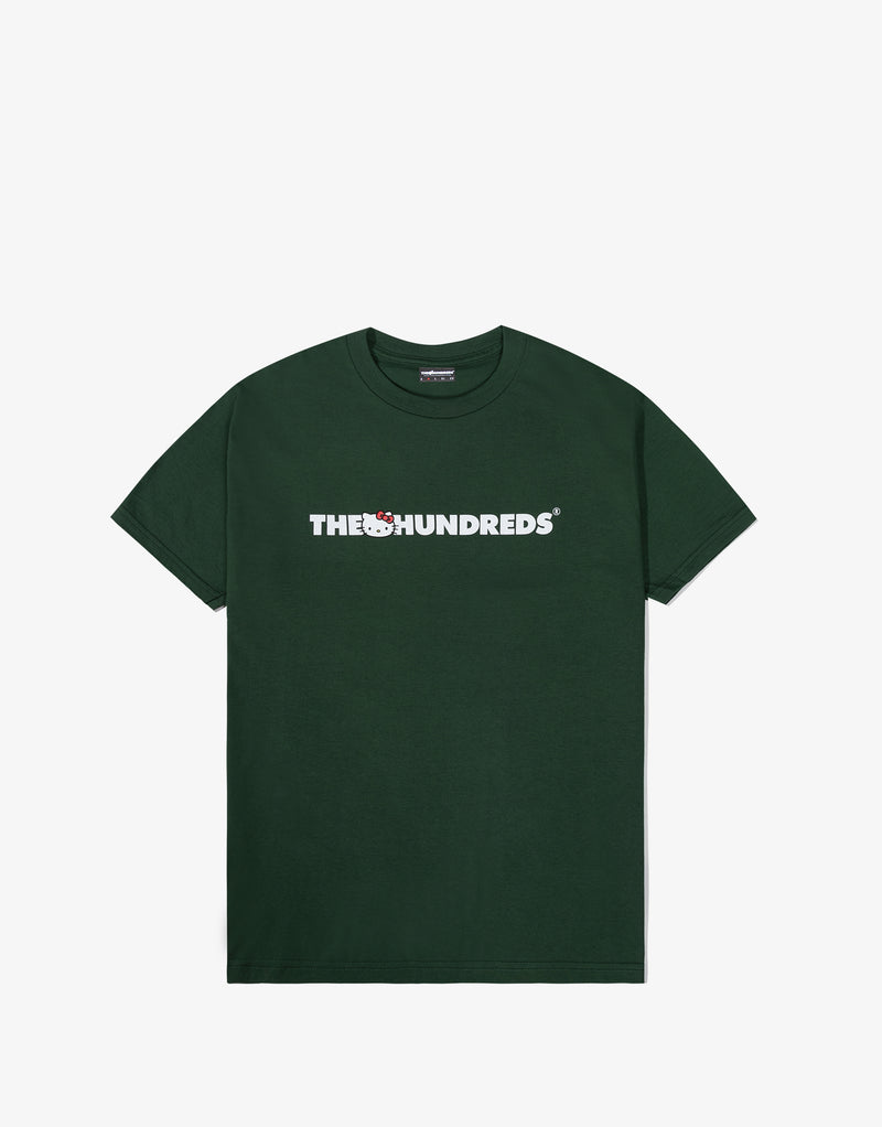 The Hundreds x Sanrio Kitty Bar Logo T Shirt - Forest