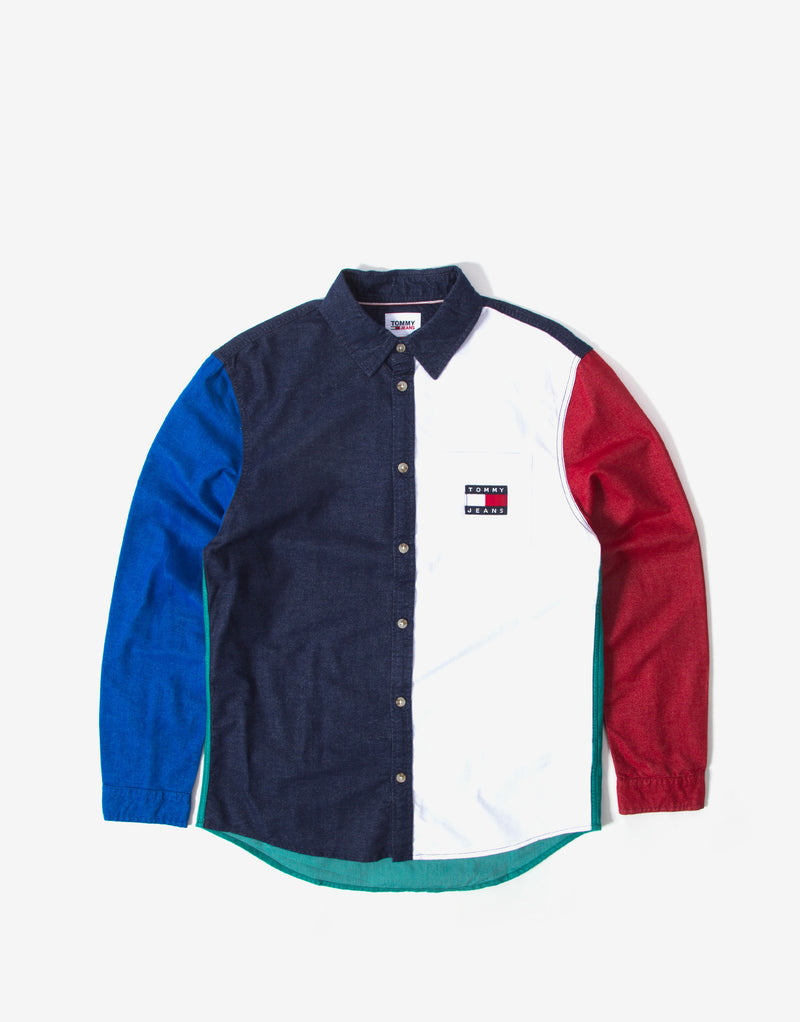 Tommy Jeans Colorblock Badge Shirt - Twilight Navy/Multi