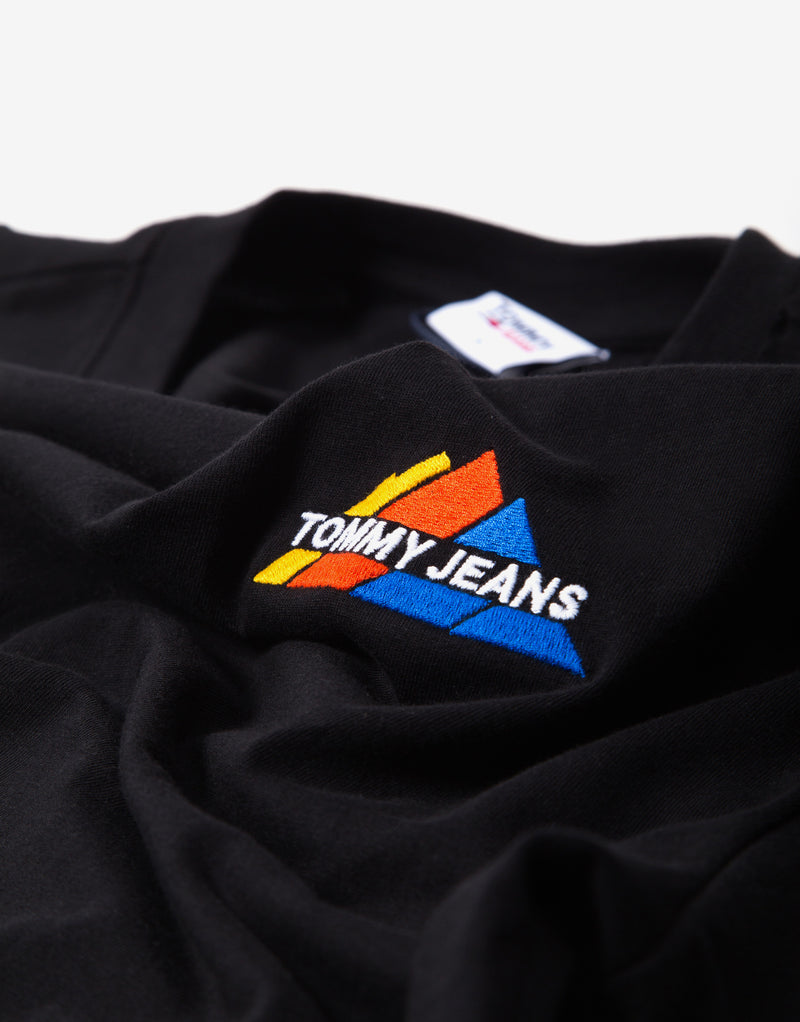 Tommy Jeans Embroidered Mountain T Shirt - Black