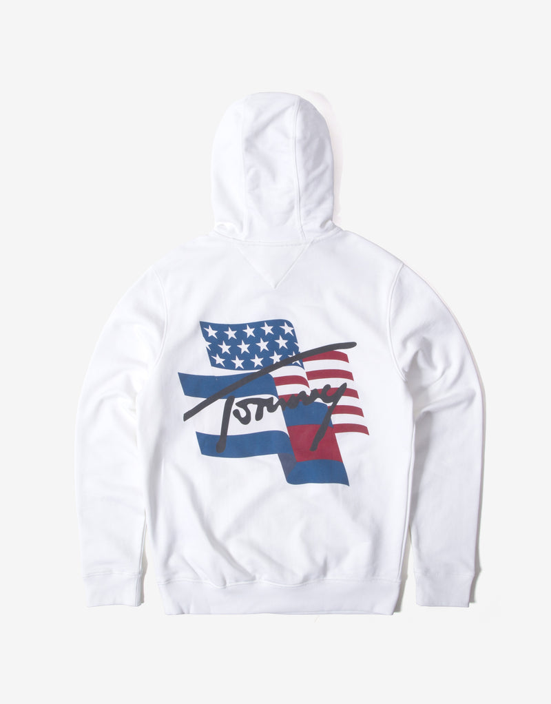 Tommy Jeans Flag Graphic Hoody - White