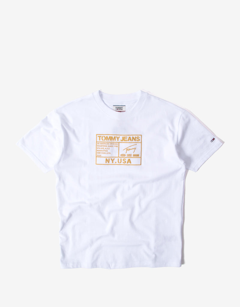 Tommy Jeans Gold Embroidery Logo T Shirt - White