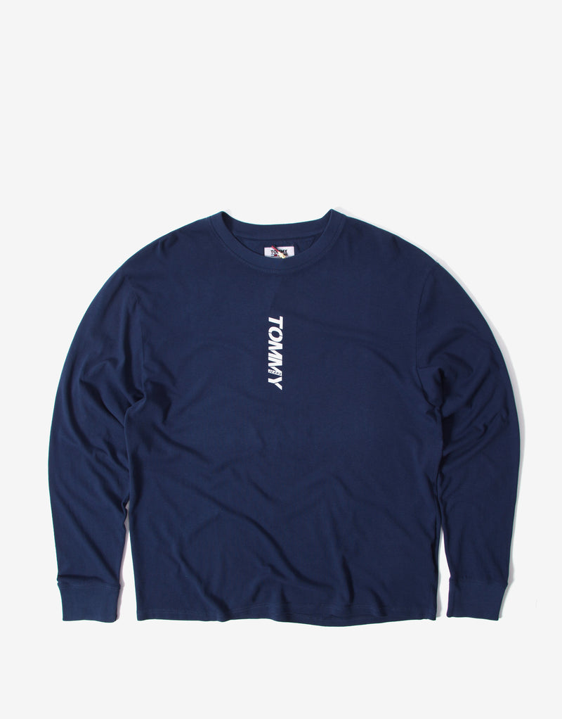 Tommy Jeans Long Sleeve Vertical Logo T Shirt - Twilight Navy