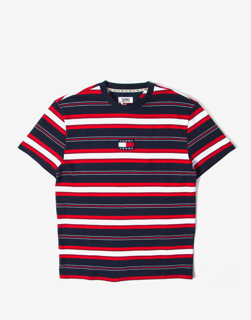 Tommy Jeans Stripe Logo T Shirt - Twilight Navy/Multi