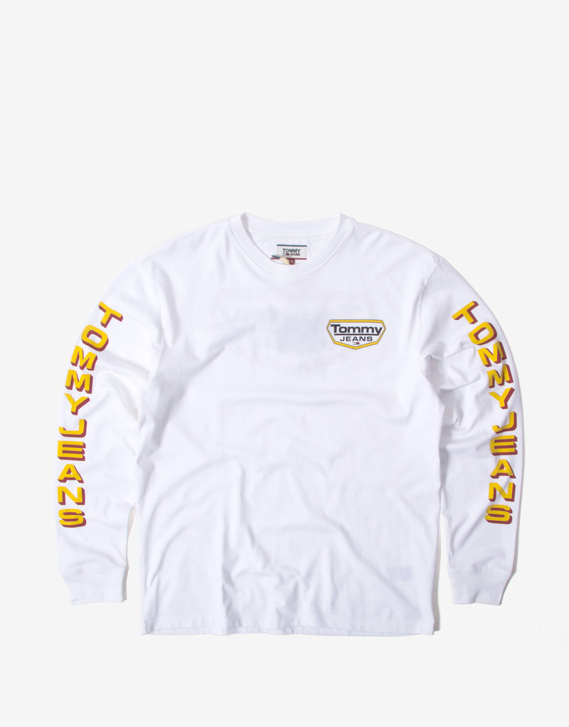 Tommy Jeans TJM Long Sleeve Retro Logo T Shirt - White