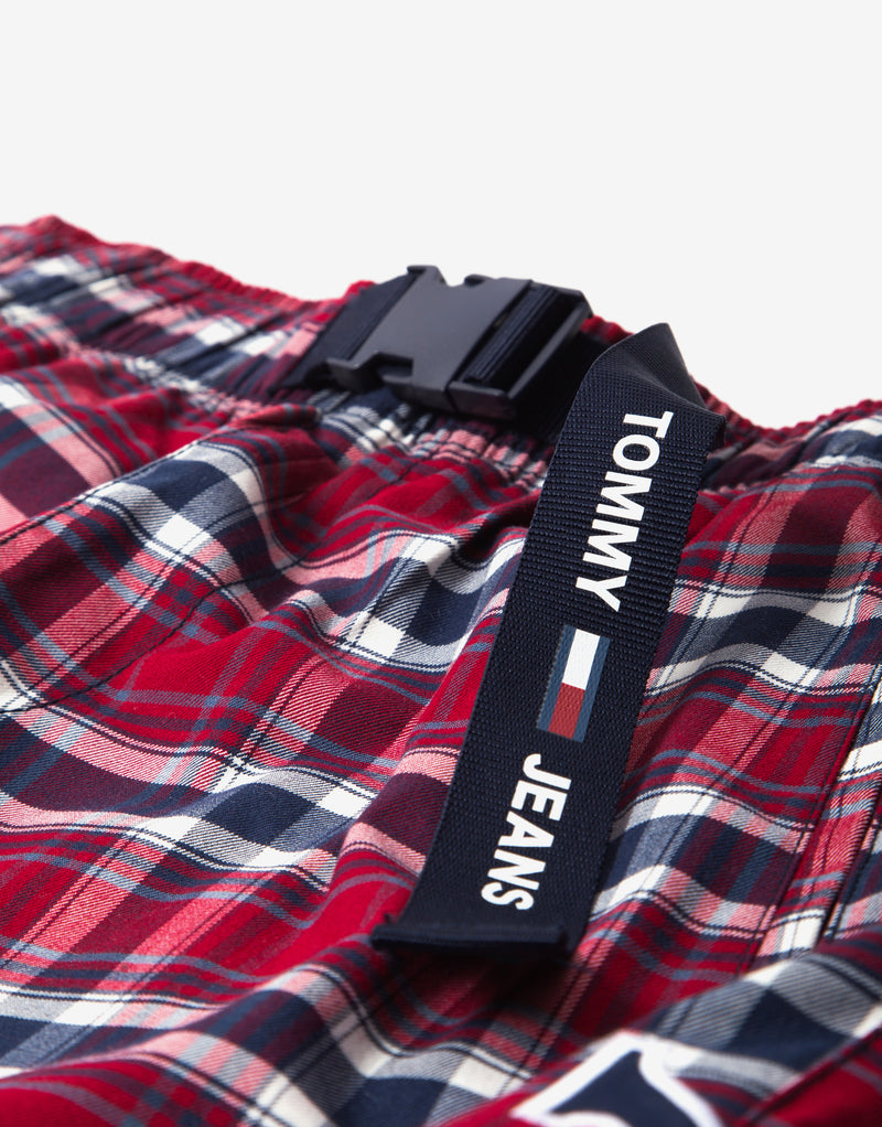 Tommy Jeans TJM Plaid Windbreaker Pants - Wine Red/Check