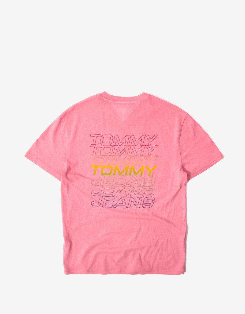 Tommy Jeans TJM Repeat Logo T Shirt - Rosey Pink