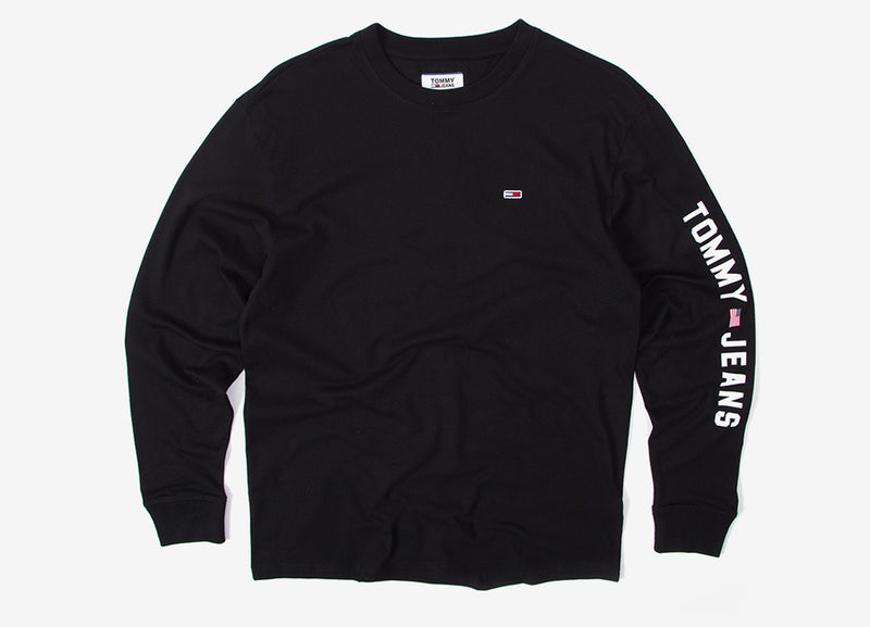Tommy Jeans USA Flag Long Sleeve T Shirt - Tommy Black