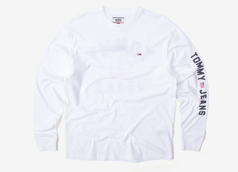 Tommy Jeans USA Flag Long Sleeve T Shirt - Classic White