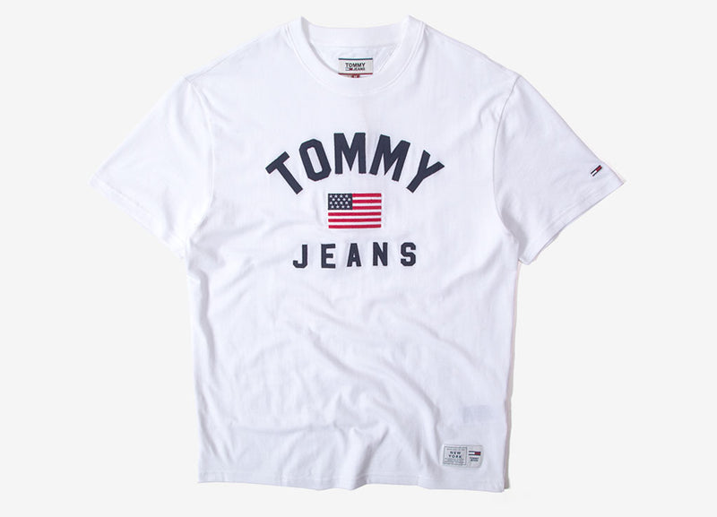 Tommy Jeans USA Flag T Shirt - Classic White
