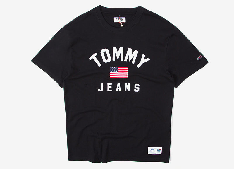 Tommy Jeans USA Flag T Shirt - Tommy Black