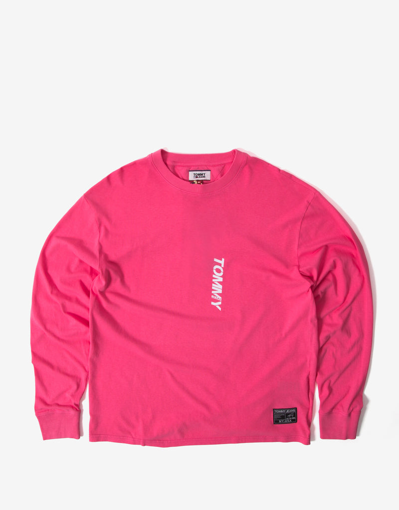 Tommy Jeans Vertical Logo LS T Shirt - Light Cerise Pink