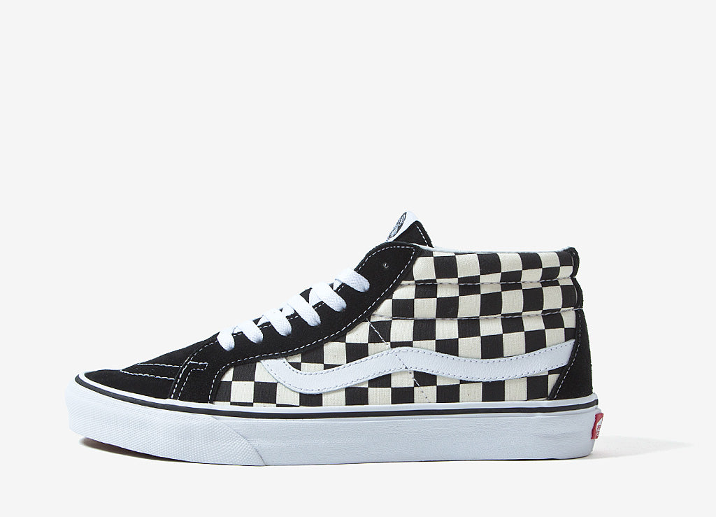 Vans Sk8-Mid Reissue Checkerboard Shoes - Checkerboard/True White