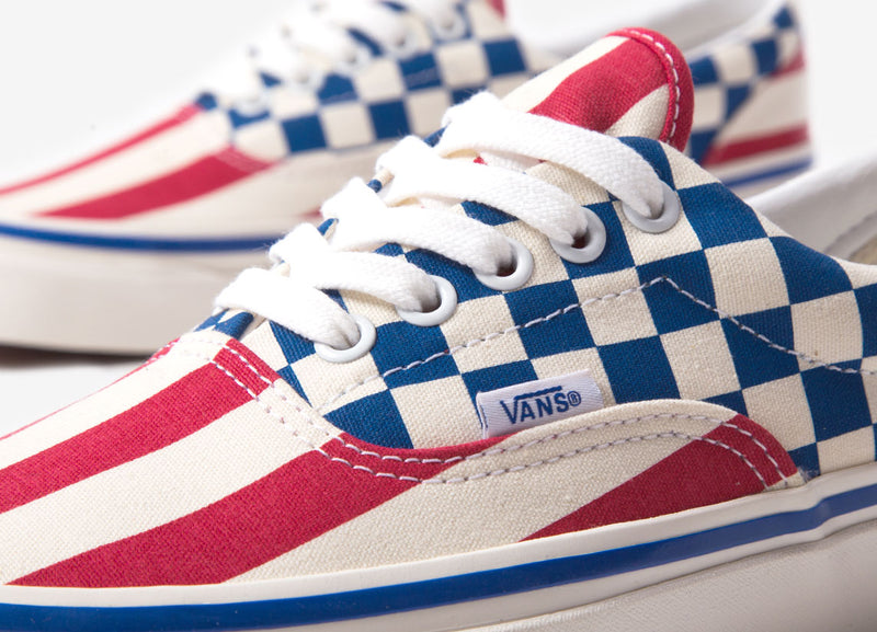 Vans UA Era 95 DX 'Anaheim Factory' Shoes - OG Red Stripes/OG Blue Check