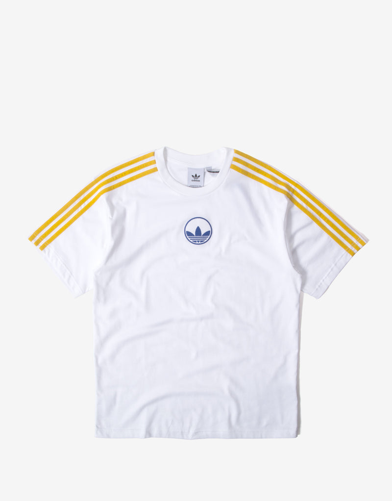 adidas Originals 3 Stripe Circle Trefoil T Shirt - White