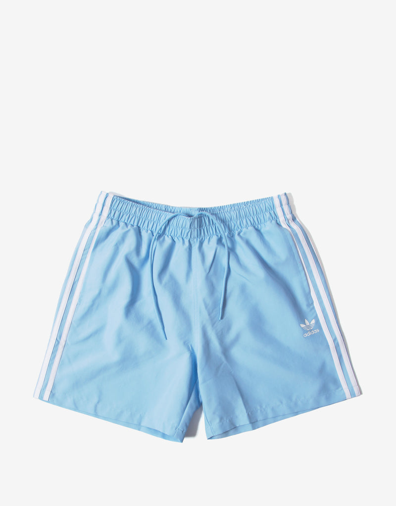 adidas Originals 3 Stripe Swim Shorts - Clear Sky