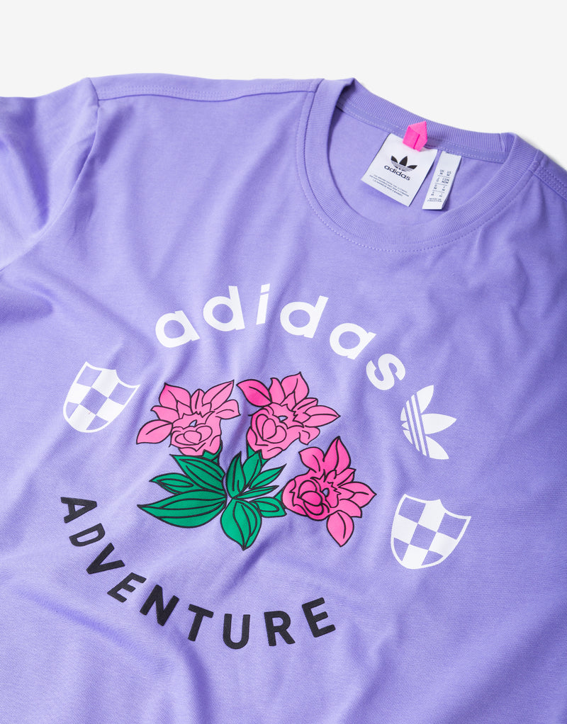 adidas Originals ADV Flowers T Shirt - Light Purple