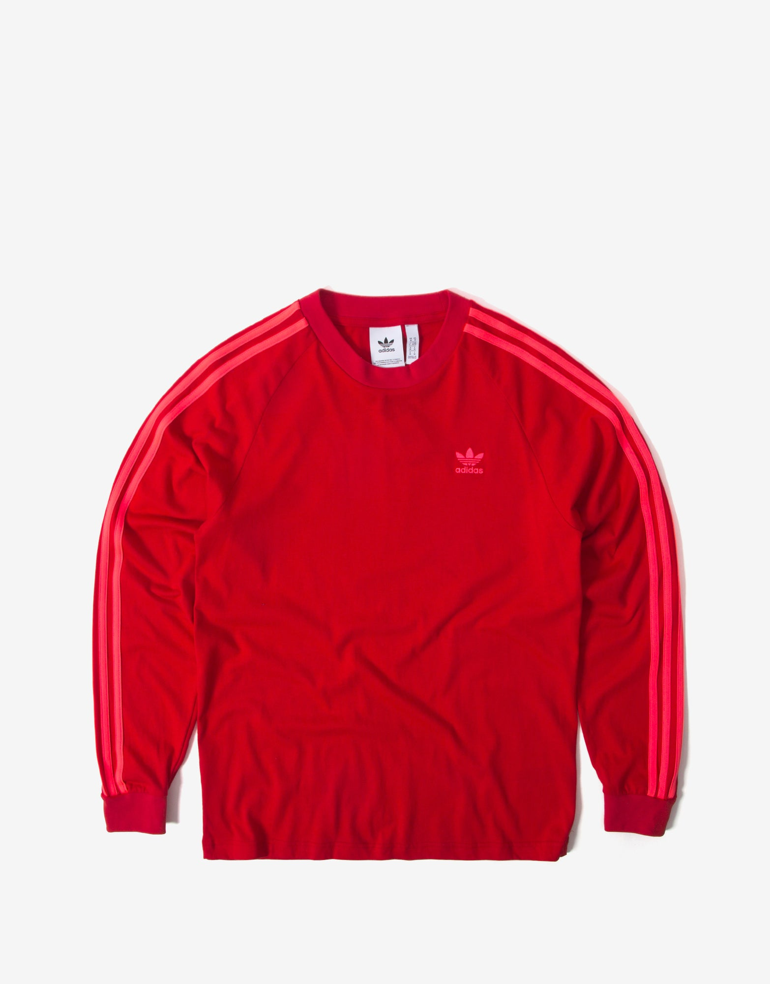 adidas Originals BLC 3 Stripes Long Sleeve T Shirt - Scarlet/Flame Red