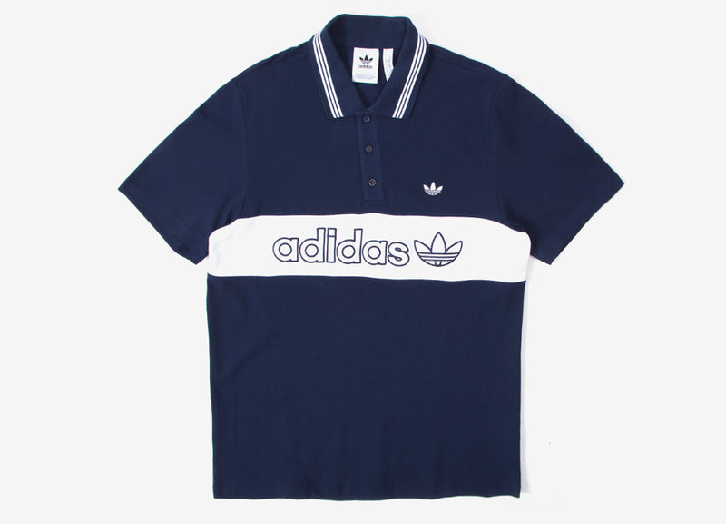 adidas Originals Samstag Colourblock Polo Shirt - Night Indigo/White