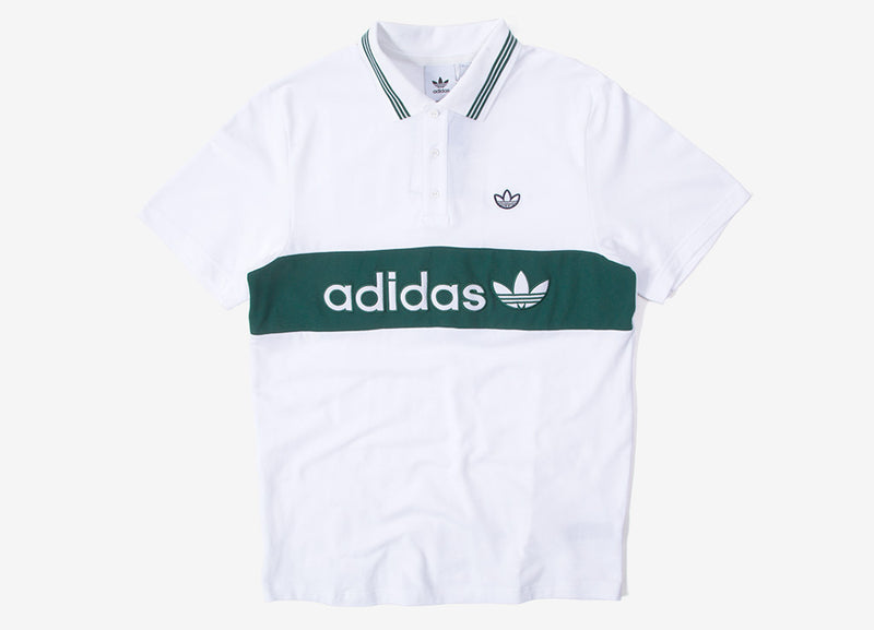 adidas Originals Samstag Colourblock Polo Shirt - White/Collegiate Green