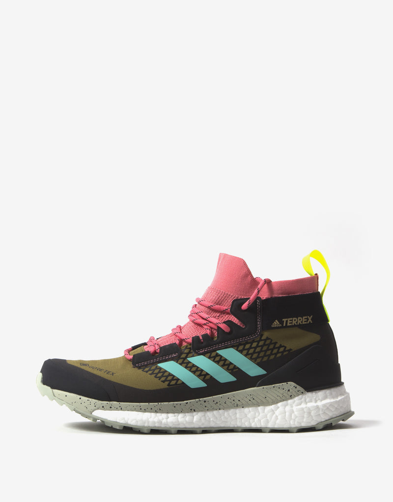 adidas TERREX Free Hiker Gore-Tex Shoes - Wild Moss/Acid Mint/Solar Yellow