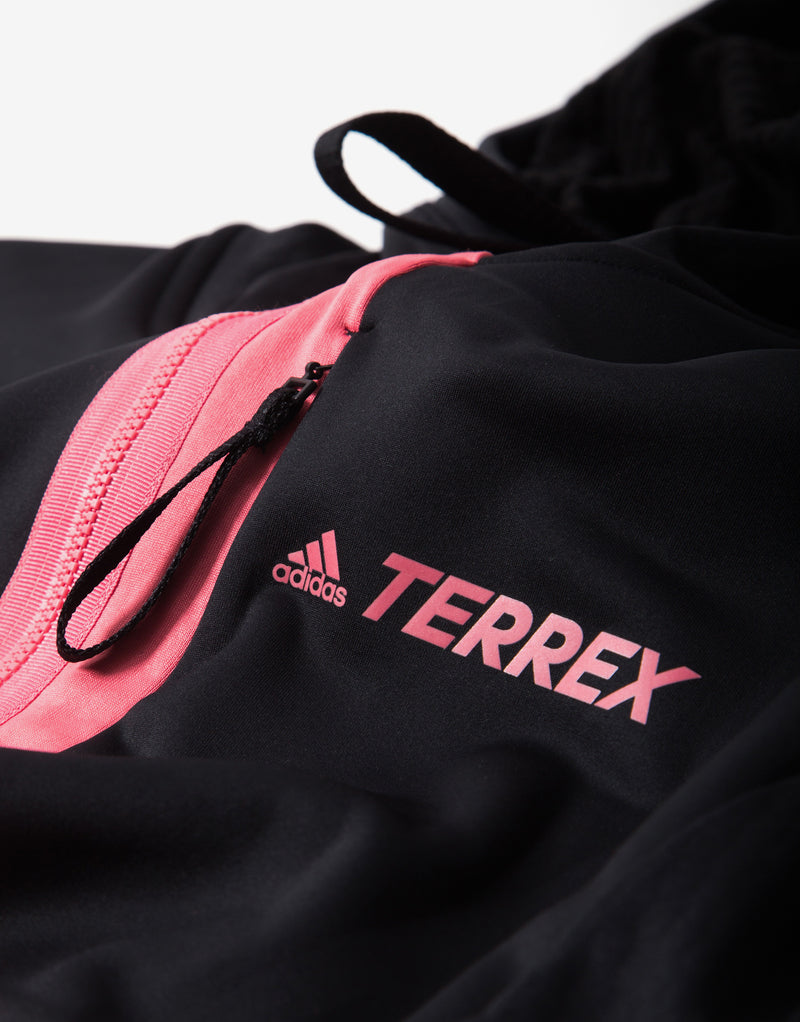 adidas TERREX Tech Flooce Hooded Fleece Jacket - Black/Hazy Rose
