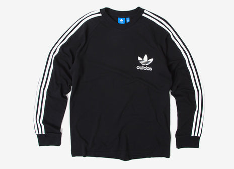 adidas Originals 3-Stripes Pique L/S T Shirt - Black